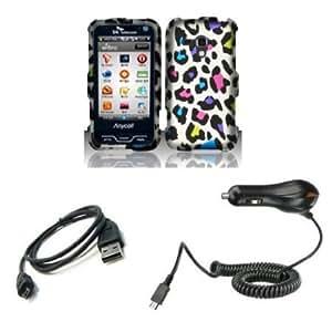 Quaroth Samsung Galaxy Rush (Boost Mobile) Combo - Rainbow Leopard Design Shield Case + Atom LED Keychain Light + Micro...