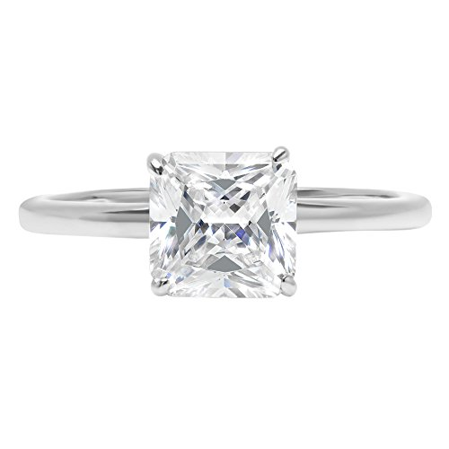 14k White Gold 2.3ct Asscher Brilliant Cut Classic Solitaire Designer Wedding Bridal Statement Anniversary Engagement Promise Ring Solid, 7.25, 7.25 by Clara Pucci
