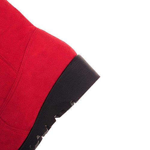 AllhqFashion Mujeres Caña Baja Tachonado Sin cordones Puntera Redonda Tacón Medio Botas Rojo