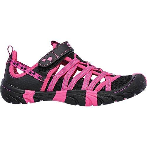 Skechers Girls' Summer Steps Summer Sandals,Black/Hot Pink,US 13 M