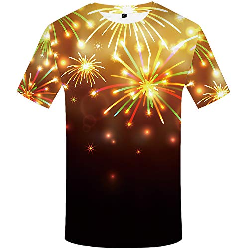 Fireworks Pattern - KYKU Fireworks Tshirt Yellow 3D Print Pattern T-Shirt Fun Casual top