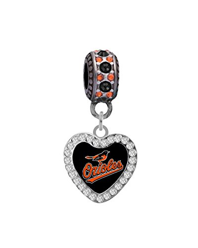 Baltimore Orioles Crystal Heart Charm Fits Most Bracelet Lines Including Pandora, Chamilia, Troll, Biagi, Zable, Kera, Personality, Reflections, Silverado and More