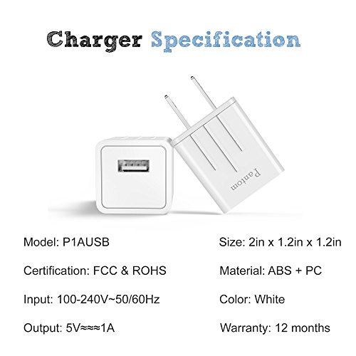 Chargers, Pantom 2-Pack Charging Adapter Travel Wall Chargers with 2-Pack 5-FeetLightning Cables Charge Sync for iPhone X, iPhone 8, iPhone 7, iPhone 6, iPhone 5, iPad Mini by Pantom (Image #2)