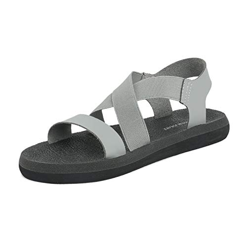 DREAM PAIRS Women's Ankle Strap Elastic Flat Sandals Size 7 M US Grey