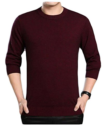 Solid UK today Color Round Neck Casual Man's Fashion 2 Blouse Sweaters Slim Fit 4XSHdH6q