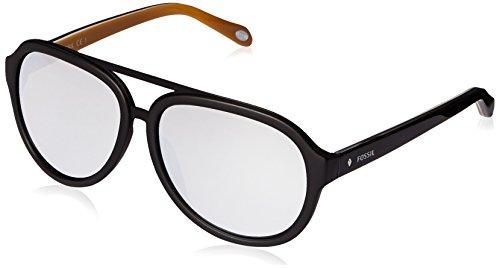 Fossil FOS2019S Aviator Sunglasses, Matte Black & Gray Silver Mirror, 59 - Fossil Womens Sunglasses Aviator
