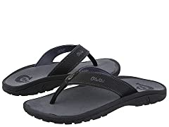 You will treasure this OluKai™ Ohana Sandal like your own 'Family.' Part of the Makai (Toward The Ocean) Collection. Water resistant, quick drying and multi-purpose sandal. Synthetic leather water resistant upper strap with OluKai logo. Jerse...