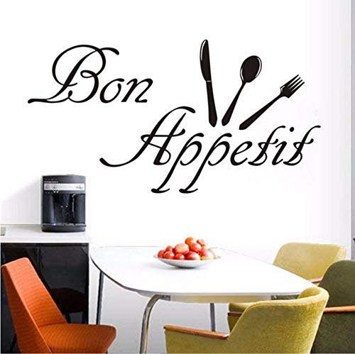 liuyongkui French Bon Appetit Eating Food Tools Wall Sticker Waterproof Art Vinyl Decals Restaurant Kitchen Dining Room Wall Decor 82X43CM