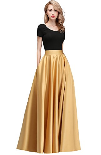 Honey Qiao Women's Satin Long Floor Length High Waist Fomal Prom Party Skirts with Pockets,Back Zipper Closure Gold
