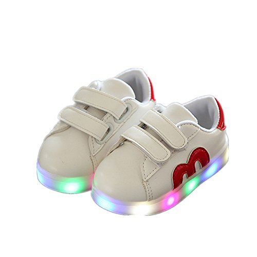 Kids Shoes, Chickwin Cute sports Leather Shoes LED Light Shoes Unisex Baby Kids Comfortable Shoes Flat Running Walking School Shoes (26 / Measurement Inside(cm) 16, Red)