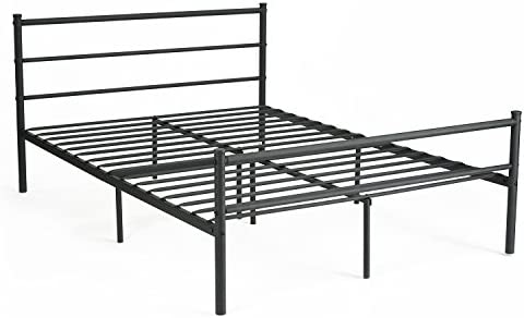 Amazoncom Greenforest Metal Bed Frame Queen Size Two Headboards