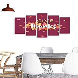 UHOO Paintings Combination DecorativeHappy Thanksgiving Holiday Typography Poster Celebration Text with Autumn Leaves Background for Postcard Template Cover Banner in Vector6. Bedroom,Hotel and so on