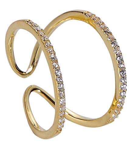 Jenna Hunter Gold Plated & CZ Horseshoe Ring for Women 925 Sterling Silver Base with Cubic Zirconia Stones Ring Size 6