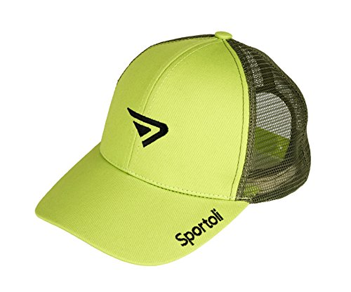 Sportoli Adult and Kids Cotton Blend and Mesh Snapback Trucker Baseball Cap Hat - Lime - Green Twill Mesh Cap