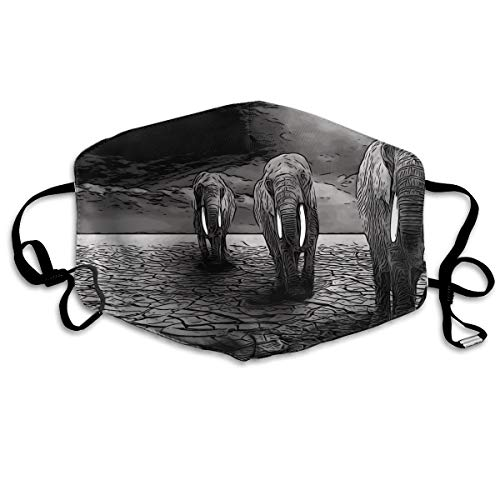 Dust Mask- Trendy Painting Elephant Print Reusable Face Mask Flu Mask for Men Women -