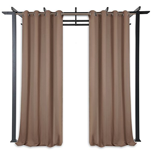 Blackout Outdoor Curtains for Patio - Waterproof Outdoor Drapes 84-inch Long Thermal Insulated Privacy Protect Grommet Shade Panel Screen for Porch, Mocha, 52