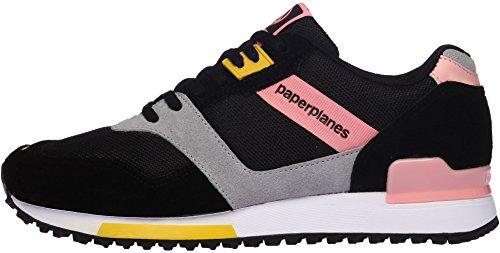Paperplanes-1329 Unisex Casual Mesh Cross Trainer Sneakers Black Pink zp8mai6K