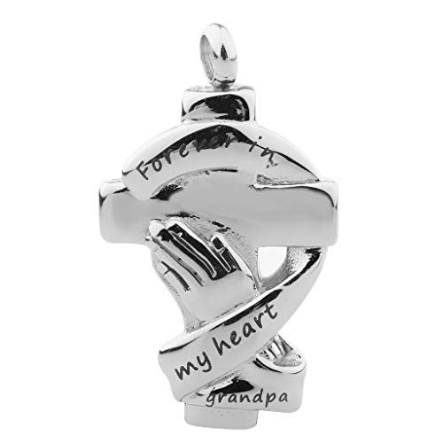 Stainless Pet Cremation Urn Keepsake Memorial DIY Hand Cross Charms Pendant Necklace Jewelry Crafting Key Chain Bracelet Pendants Accessories Best| Color - Grandpa