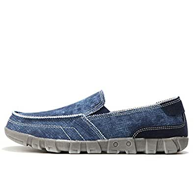 Men Canvas Shoes Breathable Casual Shoes Men Slip-on Loafers Big Size(Blue,10)