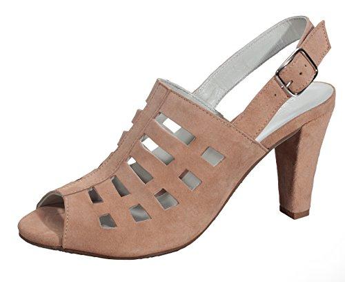 Marion Spath Damen 344-982 Wildleder Designer-Sandale mit Laser-Cuts Nude