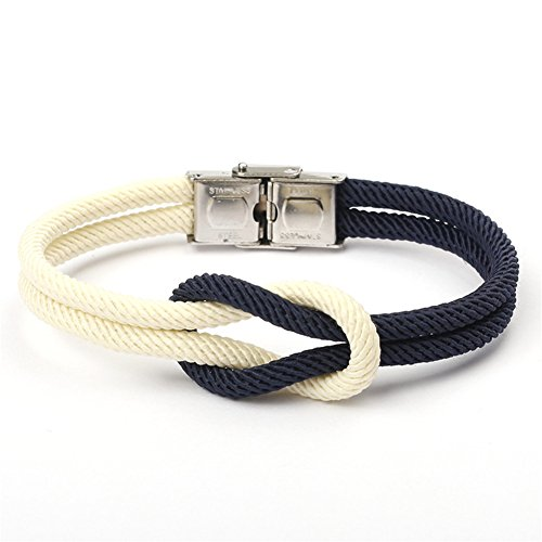 Eagle Sailing Ship - LiFashion LF Womens Maritime Nautical Braided Nylon Rope Navy Staff Viking Twisted Celtic Knot Wristband Bracelet for Adults Teens for Outdoor Hiling Sailing Activities
