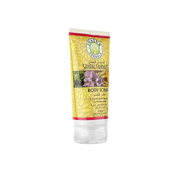 Inatur Sandal Fairness Body Scrub 200g, Ultra Hydrating & Exfoliating Scrub For Nourishing Essential Body Care , Natural… 2021 August It is a powerful natural exfoliating treatment with medicinal values It is filled with the goodness of Almond Shell Powder- that helps in gentle exfoliation Orange Peel Powder- that removes tan and brightens the skin, Turmeric Powder- cures pigmentation and removes tan