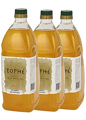 RICE BRAN OIL | All Natural, Made from 100% USA Grown Non GMO Rice | Rich in Vitamin E and Gamma-Oryzanol | Unfiltered, Non Winterized, No Trans Fat and Heart Healthy | 3-Pack 1/2 Gallon By Tophé by Tophé