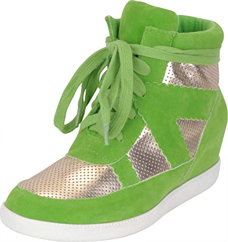 Cambridge Select Women's High Top Lace-Up Hidden Wedge Fashion Sneaker,5.5 B(M) US,Lime
