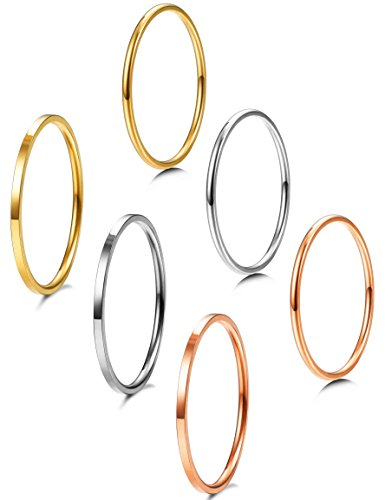 Jstyle 6 Pcs 1mm Stainless Steel Stackble Rings for Women Teens Fashion Band Midi Ring Set Wedding ()