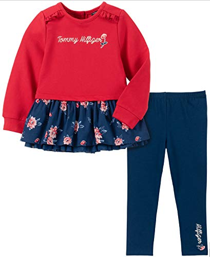 Tommy Hilfiger Baby Girls 2 Pieces Leggings Set, Red-Print/Navy, 24M