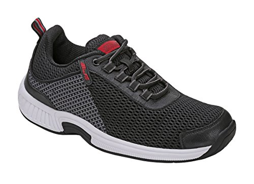 Orthofeet Edgewater Comfort Orthopedic Orthotic Mens Diabetic Sneakers Leather Black Leather 9.5 M US