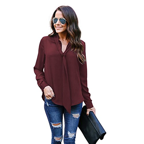 (Peize Clearance Women's Solid Long Sleeved V-Neck Casual Tie Chiffon Casual Formal Shirt Top Blouse for Office Ladies (XL, WE))