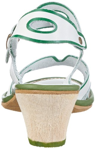 Rovers El Mar 40000 - Sandalias de cuero para mujer Blanco (Weiß (blanco/kiwi))