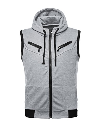 uxcell Men Ribbed Detail Drawcord Design Fashion Hoodie Vest Heather Gray S (US 36)