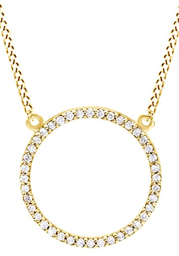 Round Cut White Natural Diamond Circle Pendant Necklace In 14k Yellow Gold
