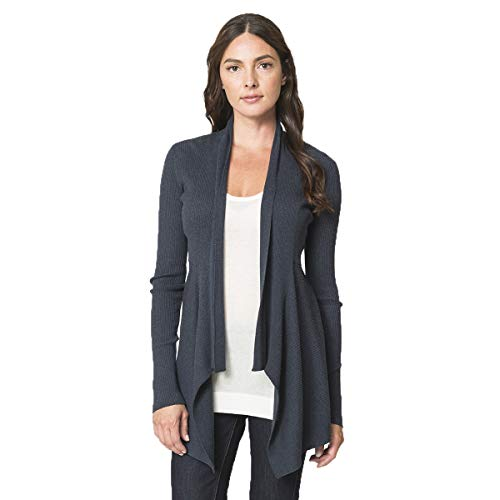 Autumn Cashmere Cotton Rib Drape Cardigan, Quality, Flattering Sweater for Any Occasion, 100% Cotton, Dungaree Blue, Extra ()