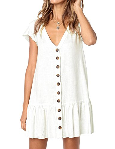 Neck CAIYING Button T Casual V Short Ruffles Summer Stylish Tunic Sleeve Women Dresses Dress Loose Down White Shirt YxRY7