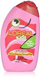 L'Oreal Kids Strawberry Smoothie 2-in-1 Shampoo for Extra Softness, 9 fl. Oz.
