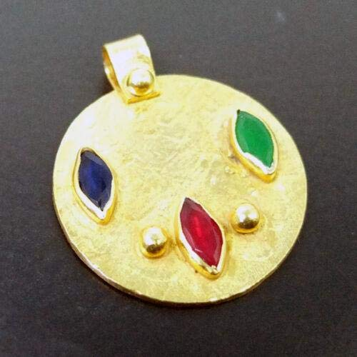 Ancient Design Handmade Large Ruby Emerald Sapphire Pendant 22K Gold over 925K Sterling Silver ()