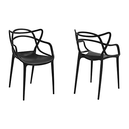 Mod Made Mid Century Modern Molded Plastic Loop Chair (Set of 2), Black (Modern Century Furniture Mid Patio Outdoor)