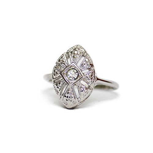 Edwardian Womens Ring - Providence Vintage Jewelry 18k White Gold Electroplated Ring Set with Clear Swarovski Crystal