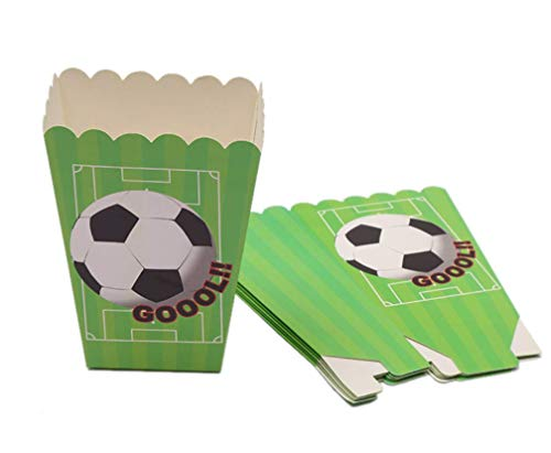 Astra Gourmet Soccer Popcorn Boxes - Baby Shower or Birthday Party Favor Popcorn Treat Boxes - Set of 24