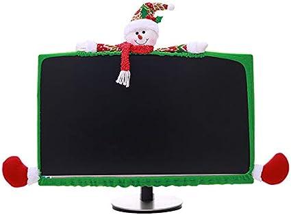 Vanproo - Funda elástica para Monitor de Ordenador, diseño de Reno y Reno, para decoración de Navidad, Snowman: Amazon.es: Hogar