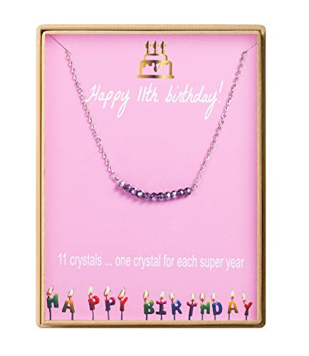 Birthday Gifts for Girls Sterling Silver Gem Stone Bar Necklace Birthday Gifts for Daughter 11 Year Old Girl