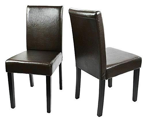 Cypress Shop Parsons Dining Chairs Kitchen Dinette Room Black Faux PU Leather Fabric High Back Backrest Armless Seat Comfortable Contemporary Style Living Room Home Furniture Set of 2