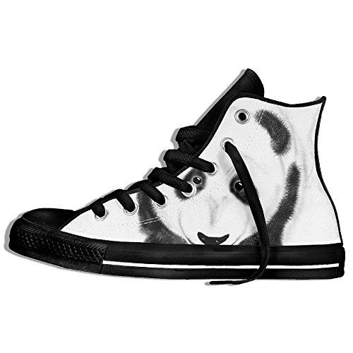 Baskets Montantes Classiques Chaussures De Toile Anti-dérapant Bébé Baer Panda Casual Marche Pour Les Hommes Femmes Noir