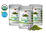 Blood Pressure Vitamins for Men - Organic Alfalfa Grass Powder - Digestion Advanced Formula - 3 Cans 24 OZ (168 Servings)