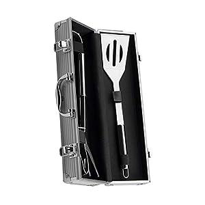 DaoRier - Attrezzi da barbecue in acciaio INOX, 3 pezzi, con valigetta e valigetta in alluminio 1 spesavip