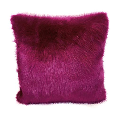 surell 100% Acrylic Faux Fox and Mink Fur Throw Pillow - Fuzzy Couch Pillow - Home Decor (Fushia)