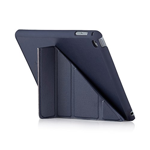 Pipetto Case for iPad Mini 4, Origami Smart Case with 5 in 1 Folding Positions & Auto Sleep/Wake Function, Compatible with Apple iPad Mini 4 - Navy Lambskin
